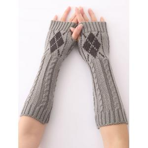 Hemp Decorative Pattern Diamond Christmas Crochet Knit Arm Warmers - Light Gray