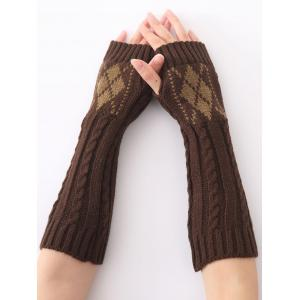 Hemp Decorative Pattern Diamond Christmas Crochet Knit Arm Warmers - Coffee