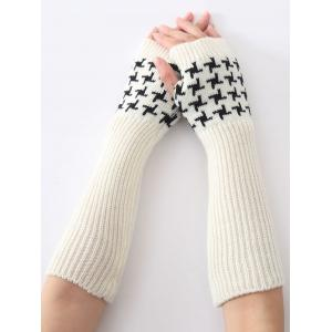 Christmas Winter Vertical Stripe Plover Case Crochet Knit Arm Warmers