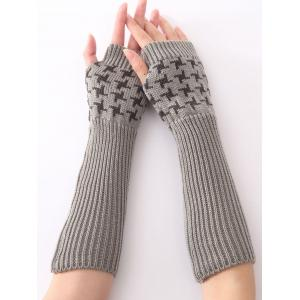 Christmas Winter Vertical Stripe Plover Case Crochet Knit Arm Warmers - Light Gray
