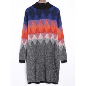 Argyle Jacquard Loose-Fitting Sweater Dress - Colormix - One Size