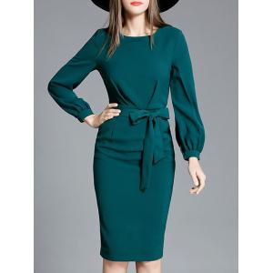 Bowknot Long Sleeve Pencil Dress - Green - S