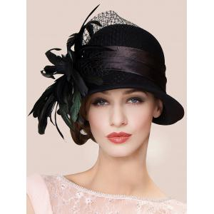 Charming Feather Ribbon Band Bowler Hat