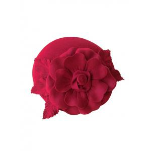 Wool Layered Floral Cocktail Hat - Cerise