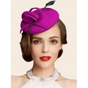 Wool Spiral Band Feather Cocktail Hat - Peach Red