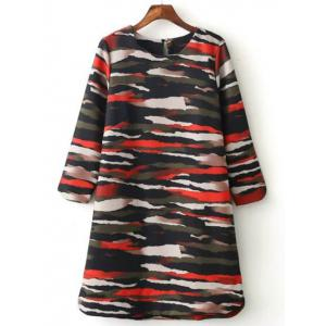 Casual Long Sleeve Camo Print Mini Dress