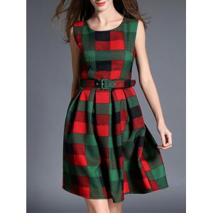 Checked Thick Belted Fit and Flare Dress
