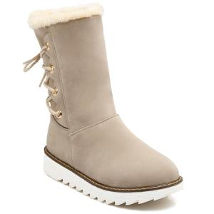 Flock Tie Up Flat Heel Snow Boots - Off-white - 37