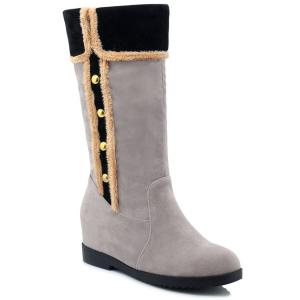 Dome Stud Increased Internal Mid-Calf Boots - Gray - 39
