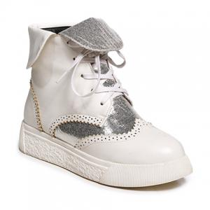 Platform Engraving Tie Up Short Boots - Silver And White - 39