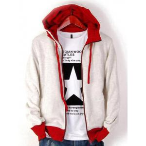 Zip Up Drawstring Contrast Insert Hoodie - Off-white - M