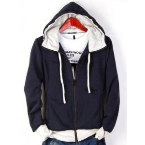 Zip Up Drawstring Contrast Insert Hoodie - Cadetblue - M