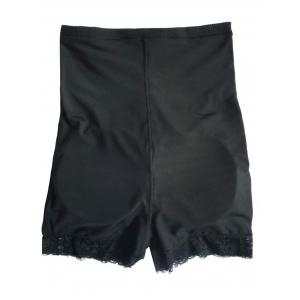 High Waist Boyshort Panties with Lace Trim - Black - Xl