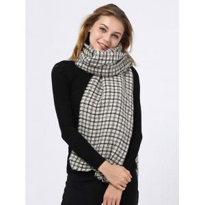 Outdoor Small Plaid Pattern Fringed Edge Scarf