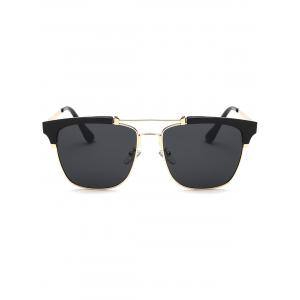 Cool Crossbar Metal Frame Butterfly Sunglasses - Black