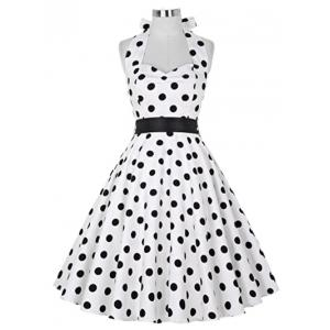 Retro Polka Dot Halter Swing Dress