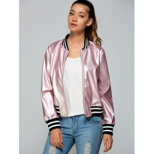 Zippered Striped Bomber Jacket - Pink - S
