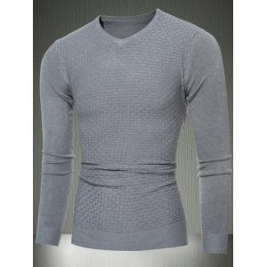 Slim Fit V-Neck Sweater in Textured Knit