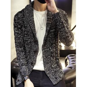 Shawl Collar Cable Knitted Cardigan - Black - 3xl