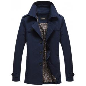 Notched Collar Epaulet Spliced Jacket