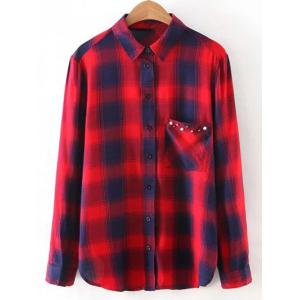 Button Up Pocket Loose Checked Shirt - Red - S