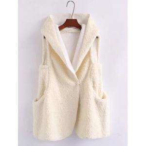 Pompon Shearling Hooded Vest - White - One Size