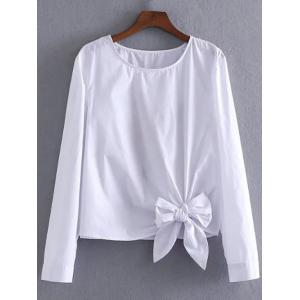 Bowknot Embellished Embroidery Blouse - White - S