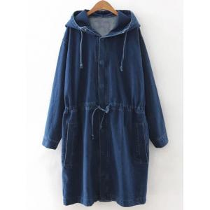 Drawstring Hooded Denim Coat