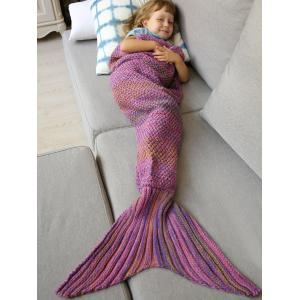 Winter Thicken Lengthen Color Block Sleeping Bag Wrap Kids Mermaid Blanket - Pink - S