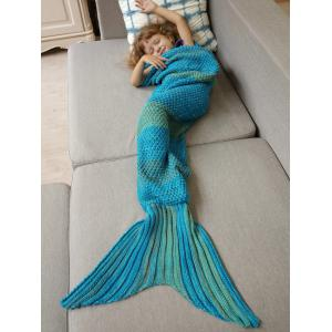 Winter Thicken Lengthen Color Block Sleeping Bag Wrap Kids Mermaid Blanket - Blue - M