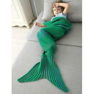 Winter Thicken Lengthen Color Block Sleeping Bag Wrap Kids Mermaid Blanket - Green - M