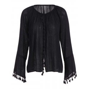 Long Flare Sleeve Tassel Cuff Blouse