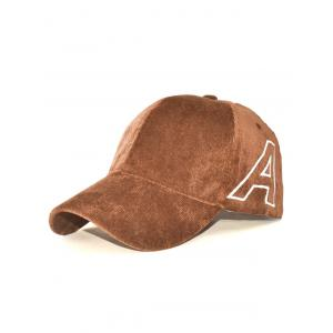 Casual Letter A Embroidery Corduroy Baseball Hat - Coffee