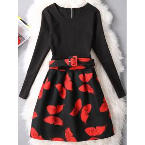 Butterfly Print Zippered Patchwork Dress
