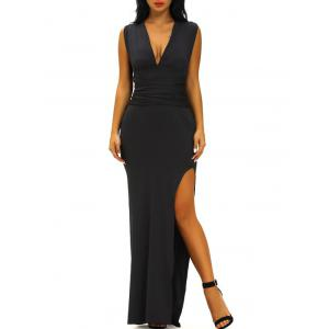 Criss Cross Plunge V Neck Maxi High Slit Prom Dress