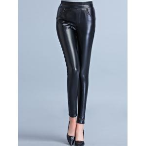 Stretchy Faux Leather Flocking Pants