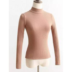 Lace Up Mock Neck Knitted Sweater - Khaki - S