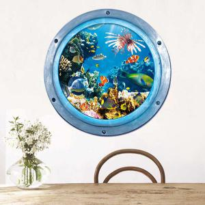 3D Stereo Sea World Toilet Home Decor Wall Stickers - Blue - W59 Inch * L59 Inch