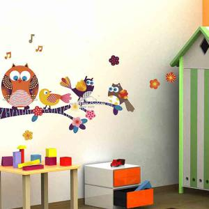 Cartoon Owl Removable Animal Nursery Wall Stickers - Colorful - 60*90cm