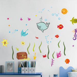 Sea World Cartoon Animal Wall Decals Kids Room