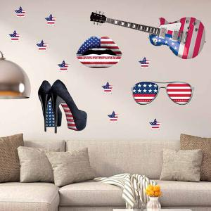 3D Stereo Removable Accessory Flag Design Living Room Wall Stickers - Blue And Red - 47*75cm