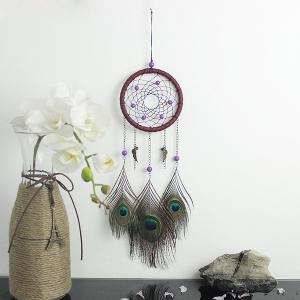 Circular Net With Peacock Feathers Dreamcatcher Wall Hanging Decor - Colormix