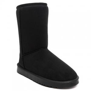 Concise Flat Heel Fold Down Snow Boots - Black - 38