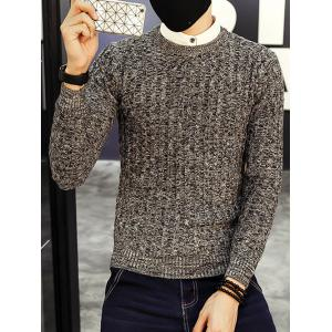 Crew Neck Ribbed Knitted Heather Sweater - Gray - 3xl
