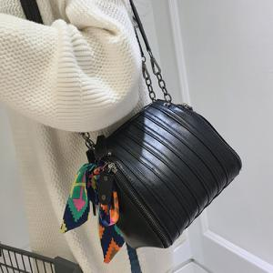 Multi Zips Scarves PU Leather Crossbody Bag