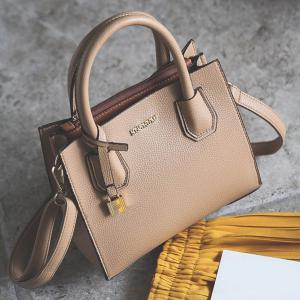 Letter Textured PU Leather Handbag