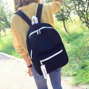 Concise Pendant Canvas Backpack - Black