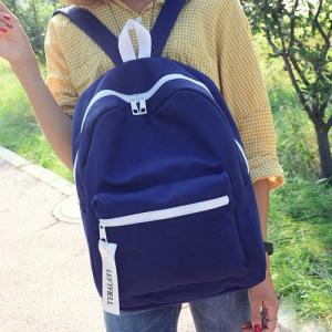 Concise Pendant Canvas Backpack - Deep Blue - 43