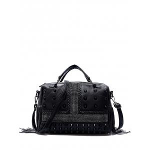 Stitching Fringe Rivet Tote - Black
