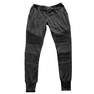 Pleats Design Beam Feet Biker Jogger Pants